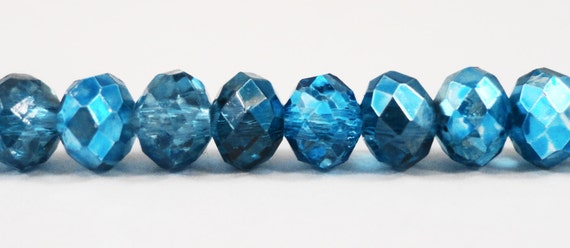 "Fire Polished Rondelle Beads 6x4mm Half Transparent Aqua Blue Half Metallic Blue Chinese Crystal Glass Beads on a 9"" Strand with 50 Beads"