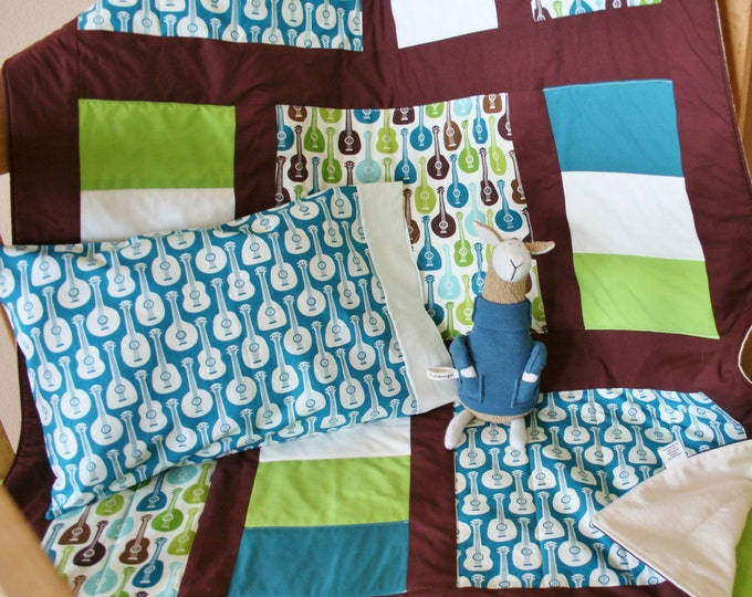 Featured listing image: Organic Baby Quilt, Toddler Quilt, Guitar Quilt, Custom Quilt, Baby Quilt, Modern Quilt, Organic: Groovy Guitars
