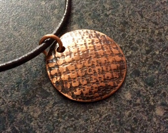 SPRUCE - Mens Copper Pendant, Jewelry, Copper Jewelry, Textured Copper, Copper Dome, Gift for Dad, Mens Gift, Antiqued Copper, Rustic Jewelr