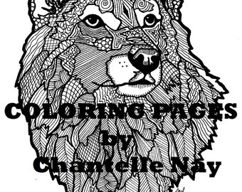 Wolf adult coloring  Etsy