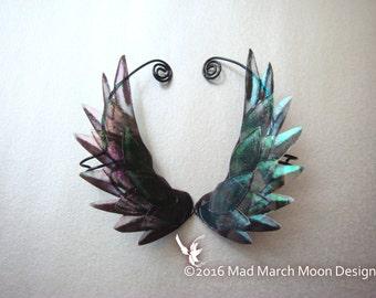 Dragon Scale Wing Ear Cuffs Black, clip on ear cuff, non pierced ear cuff.