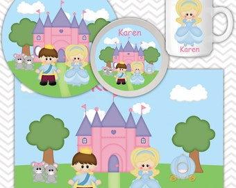 Princess Cinderlla Plate, Bowl Mug Set - Personalized Princess Plate Set - Customized Plate, Bowl, Mug - Melamine Plate, Bowl & Set for Kids