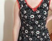 Upcycled Rockabilly Sourpuss Dress - Eyeballs with Batwings - Psychobilly - Sz L
