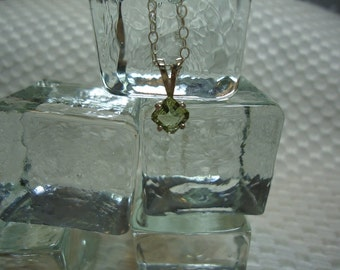 Square Cut Green Sapphire Necklace in Sterling Silver