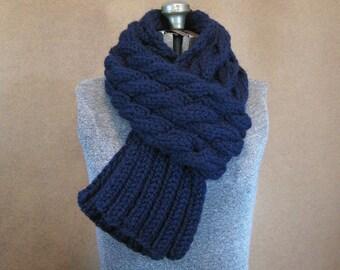 Chunky Blue Cable Knit Scarf - The Rainier - Navy