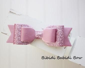 Girls Headband- Rose pink glitter bow- Faux leather bow- infant headband- Baby girl headband- Gift- Toddler headband -Hair accessory