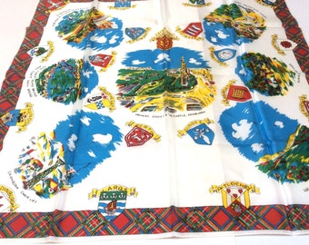 Vintage Souvenir of Scotland Scarf, Souvenir Scarf, Bright Colours with Great Graphics, Mint Condition, 1960s