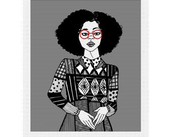 Wynn - Art - Natural Hair - Illustration - Postcard - Black Art - Black Girl - Afro - Afro Art - Fashion Illustration - Art Print