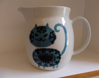 Arabia Finland Kaj Franck Blue Kitty Cat Pitcher