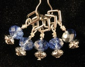 Periwinkle and Silver Stitch Markers