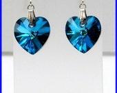 Swarovski Elements Austrian Crystal Sterling Silver Bermuda Blue Heart Dangle Earrings