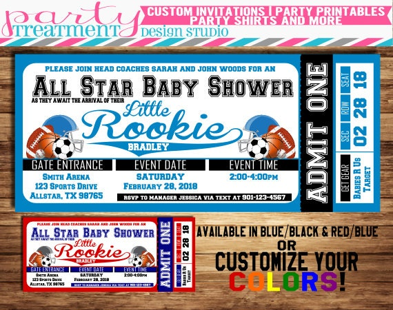 all-star sports baby shower ticket invitation allstar baby, Baby shower invitations