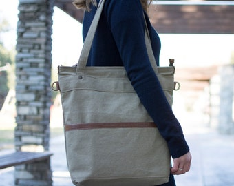 Canvas tote bag - Waxed canvas bag - Canvas laptop tote - LARYS in TAUPE