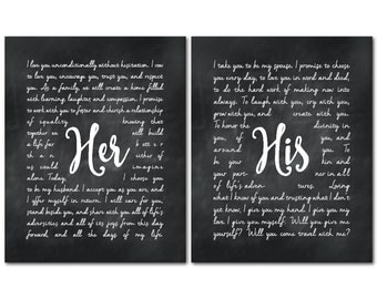 Personalized Wedding Gift - Wedding Wall Decor - His Her Vows - Wedding Vows Print Duo -  Anniversary Gift - Valentines Day - Bridal -