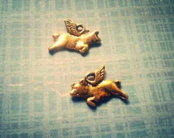 Flying Pig Charms Bulk Charms Antiqued Gold Double Sided Pig Charms When Pigs Fly Bulk Charms Wholesale 50 pieces