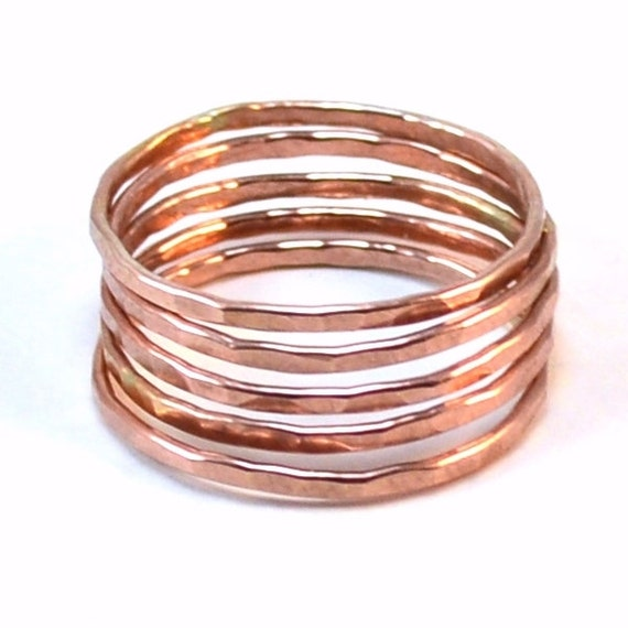 Rose Gold Stacking Rings - Set of 3 or 5 Stackable Rings - Skinny Hammered Statement Rings