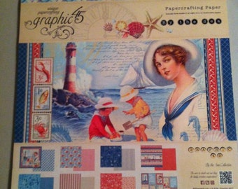 """Graphic 45 By the Sea Collection of Papercrafting Paper - 12"""" x 12"""" Double-Sided Papers"""