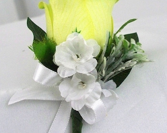 Green wedding boutonniere, Silk boutonnieres, Rose boutonniere, Green and white  Lime green lapel flower lapel pin