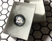Hand drawn Ghost Pin Circular Shaped 1 inch button, domed glass pendant button.