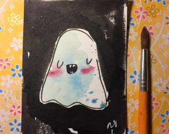 "Halloween Watercolor Painting ""Blushing Ghost"" 3x4 inches decoration."