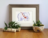 Elephant with Hearts, Fine Art Print, Nursery Decor, Jungle Illustration, African Elephant, Cute Wall Decor, Art for Kids, Gift for Her