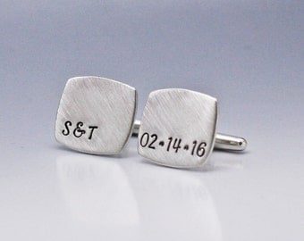 Personalized Cufflinks, Hand Stamped Cufflinks, Custom Cufflinks, Personalized Date Cufflinks, Wedding Cufflinks Gift for Groom