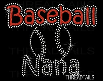 Baseball Nana t-shirt - Sparkly Glitter Rhinestone ball tee for grandmothers, grandmas, sporting events.  Womens clothing, tops, gift idea.