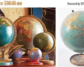 "ON SALE Vintage, 1941, 7 Inch, Cram's, Universal, Terrestrial, World Globe, 7"", Wire Stand, Mid Century Modern, Map, Blue, Gold, George F Cr"