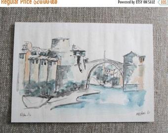 ON SALE Watercolor, Painting, River, City, Bridge,  Old Buildings, Venice, Italy, 1982, Signed, Original, Art, Vintage