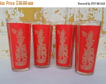 ON SALE Vintage,  Hindu Inspired, Glassware, Red & Gold, Bar Glass, Barware, Set of Four, Mid Century Modern