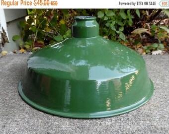 ON SALE Pendant, Light, Shade, Industrial, Gas Station, Factory, Lighting, Vintage, Porcelain, Enamel, Distressed, Porcelain, Green