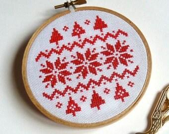 Scandi style cross stitch embroidery hoop art christmas decoration.