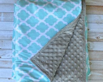 aqua quatrefoil double sided minky stroller blanket  (grey minky backing)
