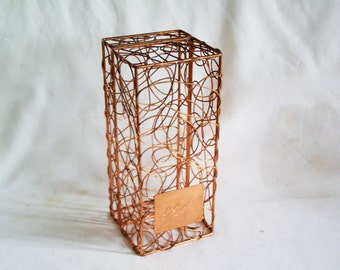 Sculpted freeform wire box Copper plated modern metal art vintage Cointreau bottle holder. Free form. Re-purpose as cage, display for doll