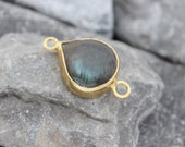 labradorite connector 18k gold plated drop gemstone cord leather link  turkish supplies