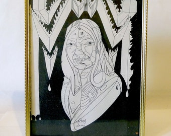 Psychedelic Found Art - Framed Line Drawing - Native American Woman