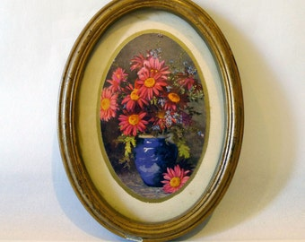 Small Oval Painting of Flowers in a Vase