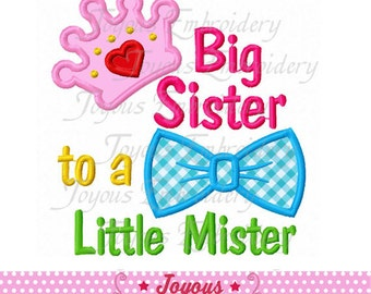Instant Download Big Sister to a Little Mister Applique Embroidery Design NO:2066