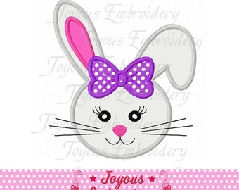 Instant Download Girl Bunny Face Machine Embroidery Design NO:1991