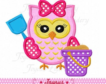 Instant Download Beach Owl For Girls Applique Machine Embroidery Design NO:2013