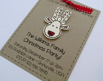 Rudolph Holiday Christmas Party Invitation | Birthday Invitation | Handmade