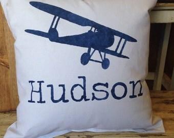 Boy pillow, airplane pillow, airplane deco, boy bedroom decor, airplane nursery, boys nursery, personalized pillow