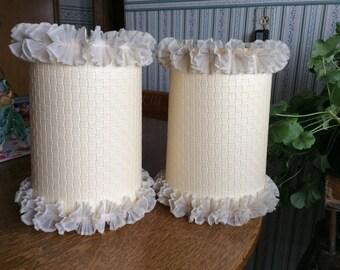 Vintage Bedroom Drum Lamp Shade Ruffled with Basket Weave