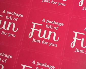 A package full of fun just for you - Bright Pink Square Stickers (35)
