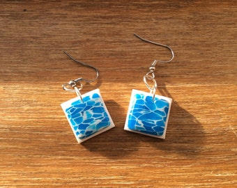 Blue White & Translucent Polymer Clay Earrings Handmade