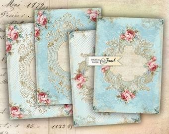 Light Blue Cards - digital collage sheet - set of 4 cards - Printable Download