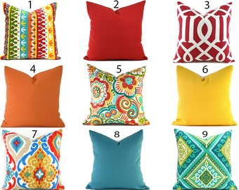 Indoor Outdoor Pillow Covers ANY SIZE Decorative Pillows Indoor Outdoor Pillows Red Pillows Turquoise Pillows You Choose