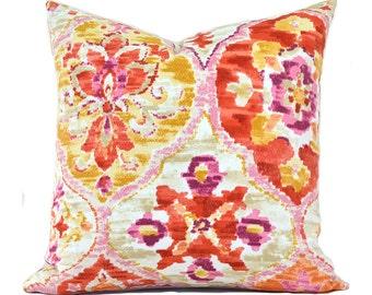 Indoor Outdoor Pillow Covers ANY SIZE Decorative Pillows Orange Ikat Pillow Orange Pillows Pink Pillow P Kaufmann Outdoor Ali Baba Tangerine