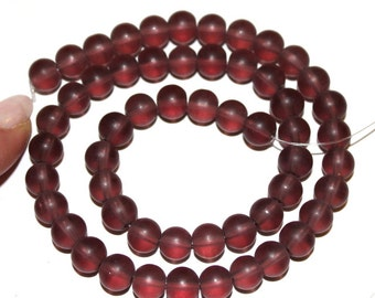 """8 mm Purple  Frosted """"Beach Glass"""" Beads"""