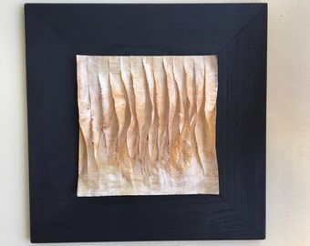 Waves-layered paper encaustic painting
